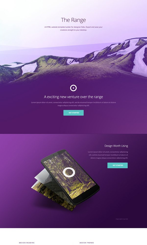 The Range - Single Pager Free PSD Website Template