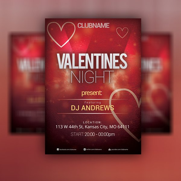 VALENTINE'S DAY Party Flyer PSD