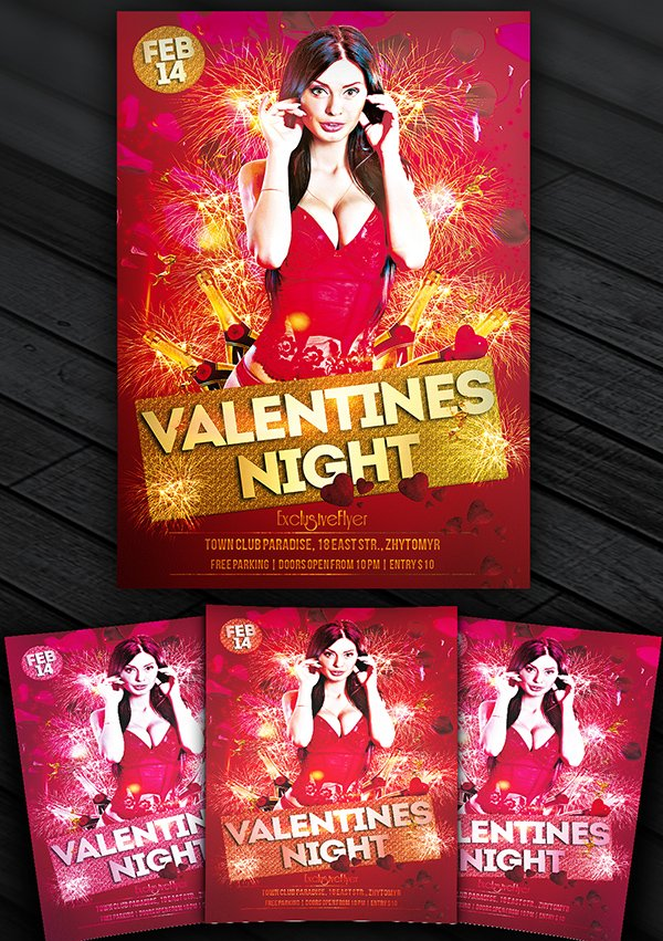 Valentines Night – Free Club and Party Flyer Template