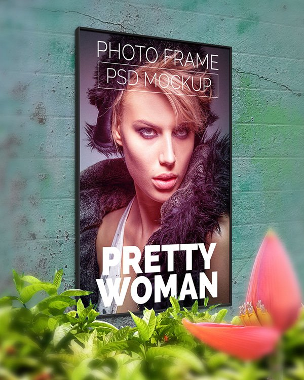 Free Wall Photo Poster Mockup Template