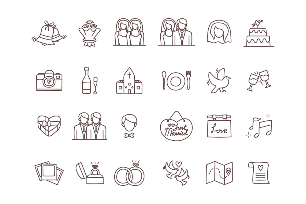 A Pack Of Free Vector Wedding Icons These Hand Drawn Are Perfect For Template Designers You Could Use Them In Your
