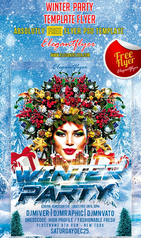 Winter Party – Club and Party Free Flyer PSD Template