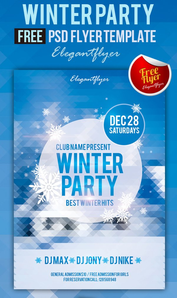 Winter Party – Free Club and Party Flyer PSD Template